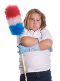 On Strike. A young girl mad because she has to do some cleaning chores, isolated against a white background Stock Photography