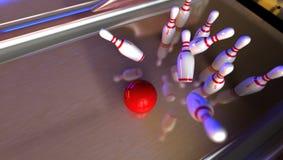 Strike. Good hit on bowling lane Royalty Free Stock Image