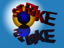 Strike 22. An image of a bowling ball knocking apart a word with a successful strike Stock Photo
