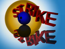 Strike 23. An image of a bowling ball knocking apart a word with a successful strike Royalty Free Stock Image