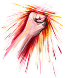 Strike. Strong human hand hitting something Royalty Free Stock Images