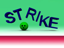 Strike 27. An image of a bowling ball knocking apart a word with a successful strike Royalty Free Stock Photo
