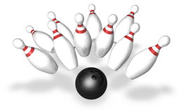 Strike!. Bowling pins isolated on a white background Stock Image