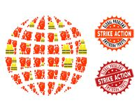 Collage of Gilet Jaunes Protest Globe and Strike Action Stamps stock illustration