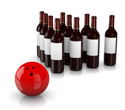 Strike Alcoholism. Set of Glass Wine Bottles as Skittles and Bowling Ball  on White Background, Strike Alcoholism Concept Royalty Free Stock Images