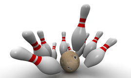 Strike. Bowling ball knocks down all the pins Royalty Free Stock Photo