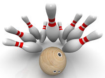 Strike. Bowling ball knocks down all the pins. Bowling ball and skittles are on the white surface. Isolated. 3D Illustration Stock Images