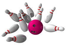 Strike during a bowling game. On a white background royalty free illustration