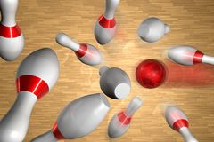 A strike on a bowling game vector illustration