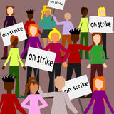 Strike. A crowd with signs on strike royalty free illustration