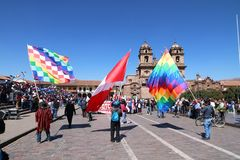 General strike in Cusco, Peru. Strike in Cusco to protest teachers wages in July 2017 Royalty Free Stock Image