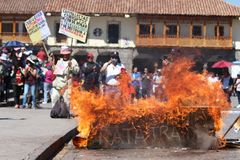 General strike in Cusco, Peru. Strike in Cusco to protest teachers wages in July 2017 Stock Photos