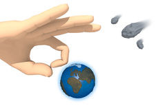 Strike the Earth. Rendering of a hand is going to strike the Earth on white background. On the right side there are three asteroids in transit. The action is the royalty free illustration