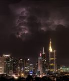 Strike Four. Lightning Strike and thunder clouds in Frankfurt Stock Images