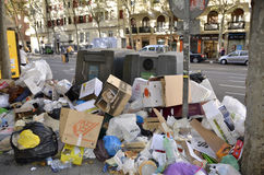 Strike garbage. MADRID, SPAIN - NOVEMBER 14: Garbage accumulation in the streets of Madrid due to strike on November 14, 2012 in Madrid Spain
