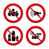 Strike group of people. Megaphone loudspeaker Stock Images