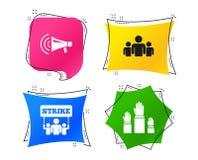 Strike group of people. Megaphone loudspeaker. Vector vector illustration