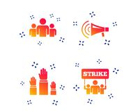 Strike group of people. Megaphone loudspeaker. Vector stock illustration