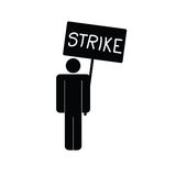 Strike icon with man vector. Strike icon with black man vector illustration on a white Stock Photography
