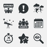 Strike icon. Storm weather and group of people. Royalty Free Stock Photos