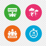 Strike icon. Storm weather and group of people. Royalty Free Stock Photo