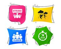 Strike icon. Storm weather and group of people. Vector stock illustration
