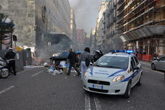 Strike in naples. Strike and violence during a strike in Naples, italy Stock Photography
