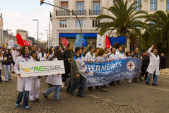 Strike of nurses in Portugal Royalty Free Stock Photo