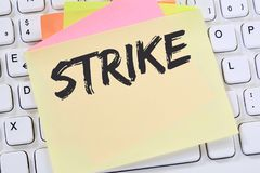 Strike protest action demonstrate jobs, job employees business c. Oncept note paper computer keyboard Stock Images