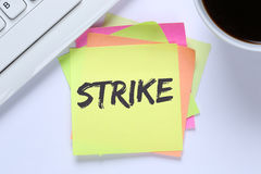 Strike protest action demonstrate jobs, job employees desk keybo Stock Photo
