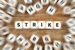 Strike protest action demonstrate jobs, job employees dice busin Royalty Free Stock Photo