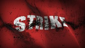 Strike Red grunge dirty flag waving on wind. Strike Red background fullscreen grease flag blowing on wind. Realistic filth fabric texture on windy day Stock Photo