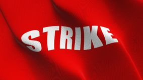 Strike Red flag waving on wind. Strike Red flag background fullscreen, blowing on wind. Realistic fabric texture on windy day Royalty Free Stock Image