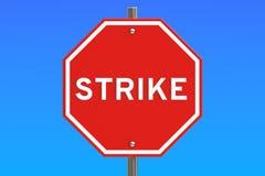Strike road sign, 3D rendering Stock Image