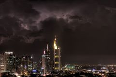 Strike three. Lightning Strike and thunder clouds in Frankfurt Royalty Free Stock Photography