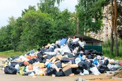 A strike to remove garbage from the city, garbage and old things were thrown out near the container for a long time. Moscow region, Russia Stock Photo