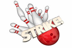 Strike Word Bowling Ball Pins Win Game Stock Photography