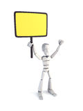 Strike of worker. Holding placard, 3d rendering Royalty Free Stock Photography