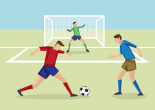 Striker Dribbling Soccer Ball in Penalty Area Royalty Free Stock Images