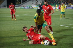 Striker of fc kuban Lorenzo Melgarejo is fighting for a ball with defender of fc rubin Stock Image