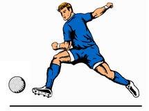 Striker kicking ball blue. Illustration of a soccer player kicking the ball stock illustration