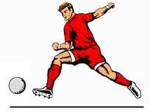 Striker kicking ball red. Illustration of a soccer player kicking the ball stock illustration