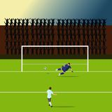 Striker players is shooting the goal. But the goalkeeper struck the other way By the silhouette of the cheering as the background vector illustration