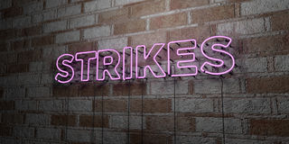STRIKES - Glowing Neon Sign on stonework wall - 3D rendered royalty free stock illustration. Can be used for online banner ads and direct mailers Royalty Free Stock Photos