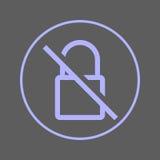 Strikethrough lock circular line icon. No encryption round colorful sign. No encryption flat style vector symbol. Stock Images