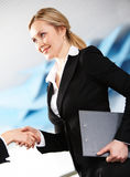 Striking business deal. Photo of confident businesswoman handshaking with her partner after signing contract Royalty Free Stock Photos