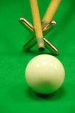 Striking the cue ball with a short rest Royalty Free Stock Photos