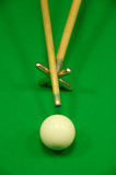 Striking the cue ball with a short rest stock photography