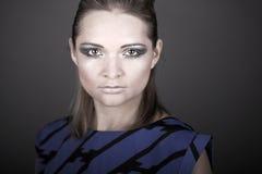 Striking Fashion Model in Blue Dress Royalty Free Stock Photos
