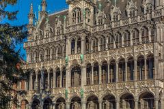 Striking Gothic Revival facade of the Museum of the City of Brussels. The building also known as the Maison du Roi `King`s House` or Broodhuis `Bread hall royalty free stock photography
